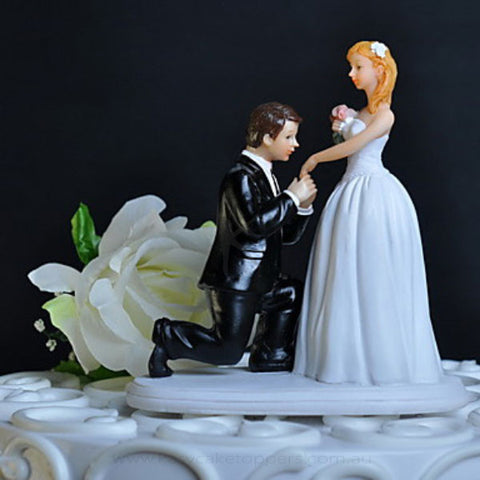 Proposal On Bended Knee Cake Topper