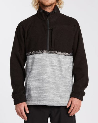 Billabong Boundary Mock Neck Polar Fleece Men's Hoodie Grey and Black