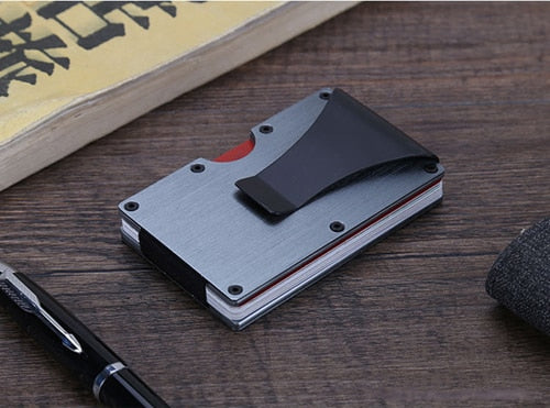 Fashion Stainless Steel Credit ID Card Holder Metal Bank Name Bus Travel RFID Wallet Male Protector Cardholder Porte Carte