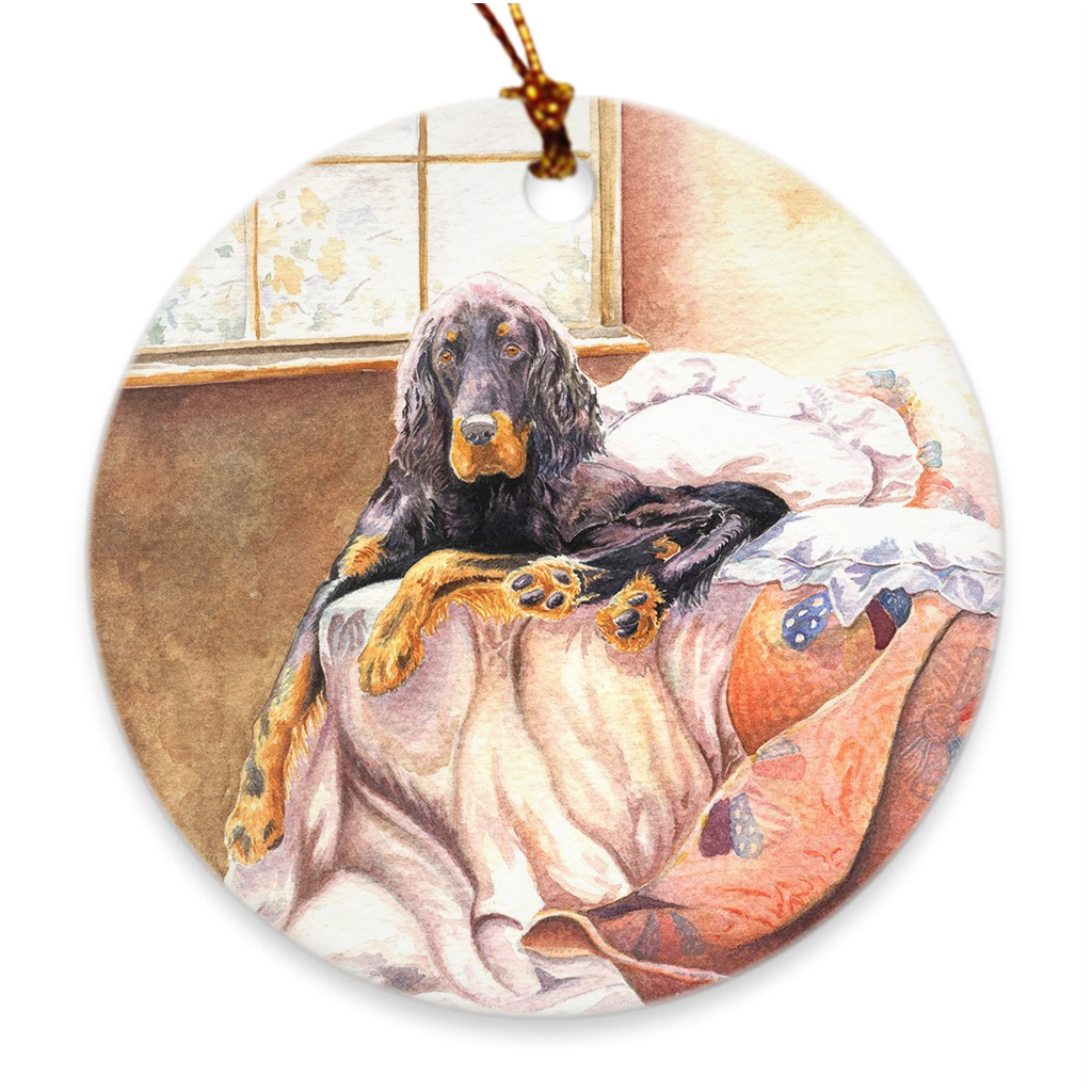 "Gordon Setter ""On the Bed"" Christmas Ornament"