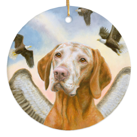 "Vizsla ""Soar With Eagles"" Ornament"