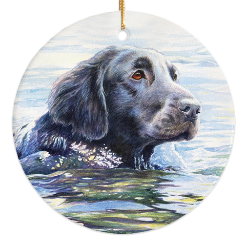 "Flat Coated Retriever ""Swim"" Christmas Ornament"