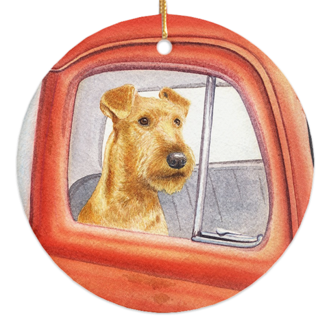 "Irish Terrier ""Sunday Drive"" Christmas Ornament"