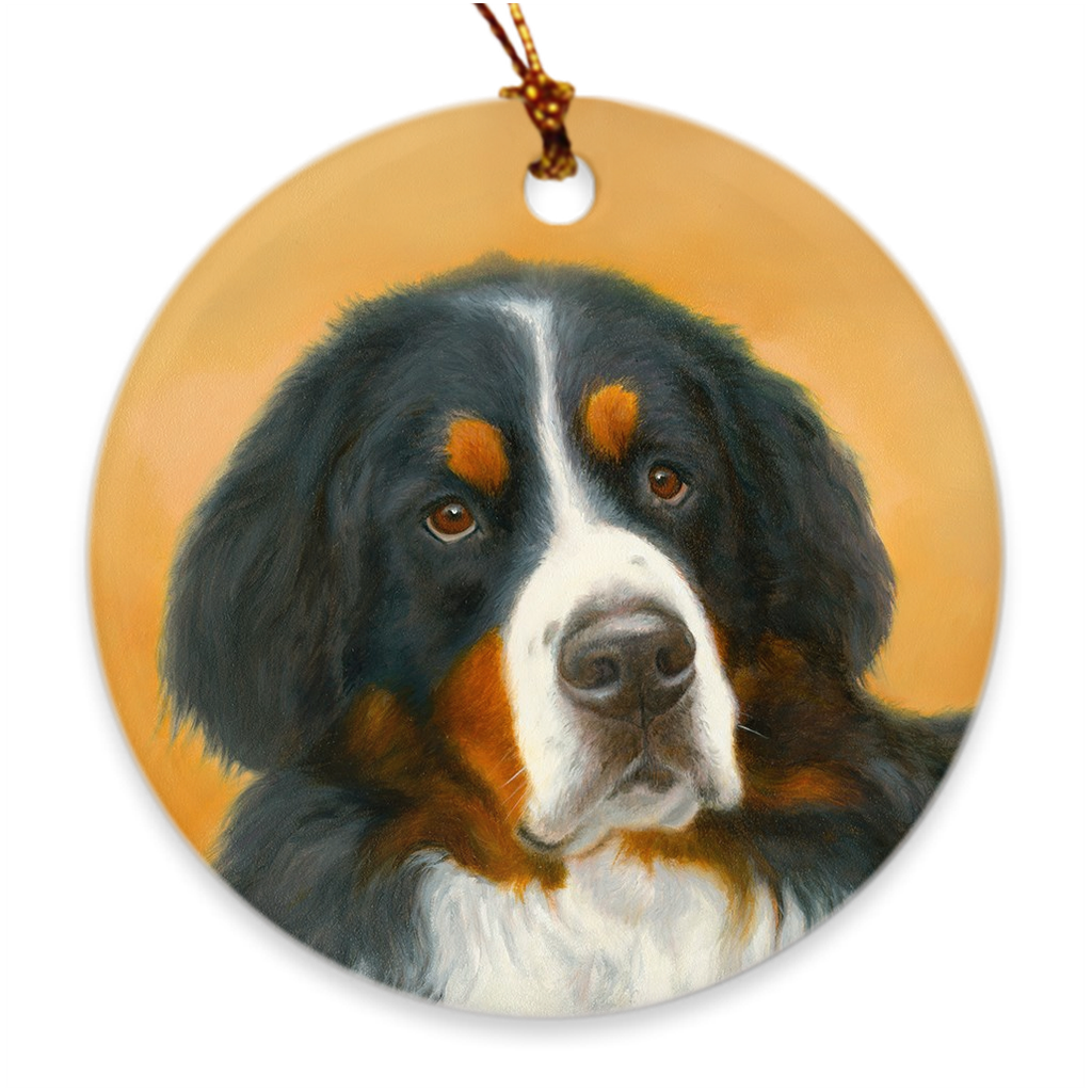 "Bernese Mountain Dog ""Oil"" Christmas Ornament"