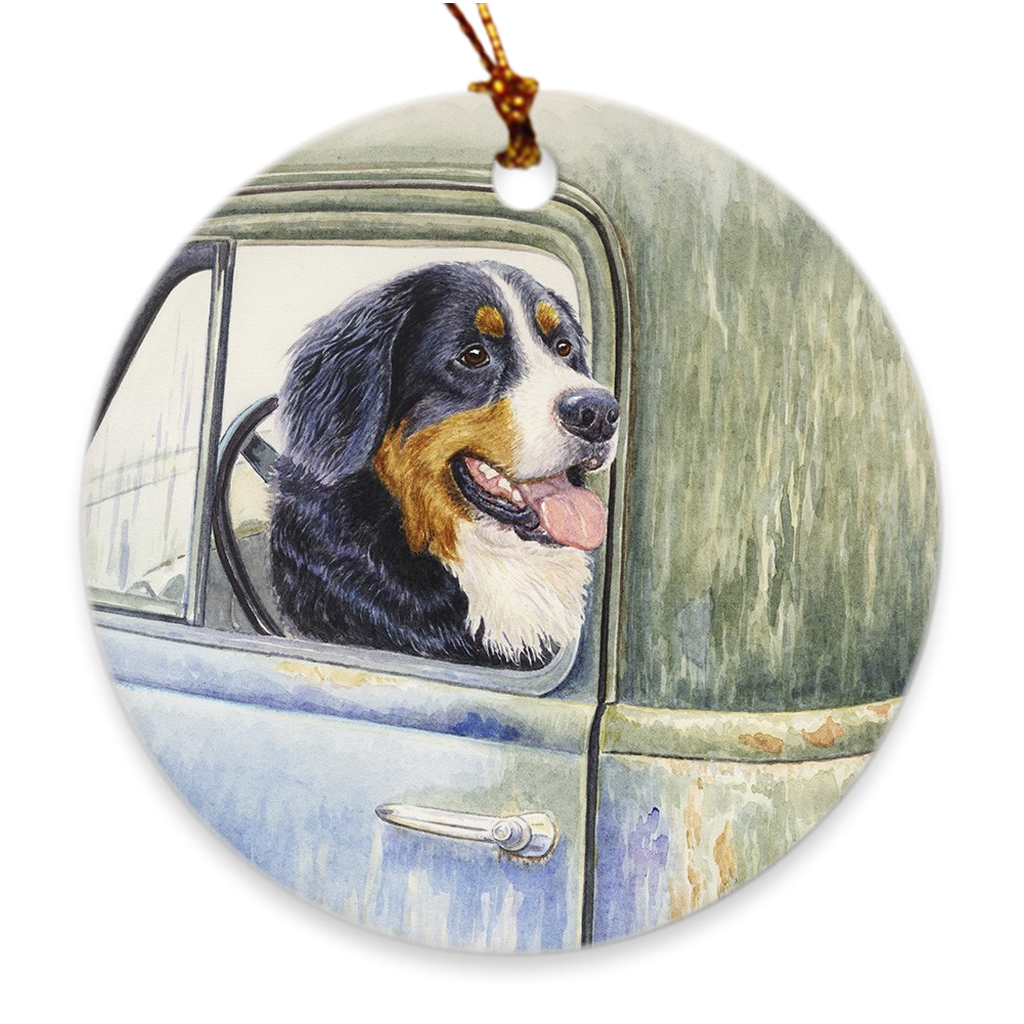 "Bernese Mountain Dog ""Be Back in a Minute"" Christmas Ornament"