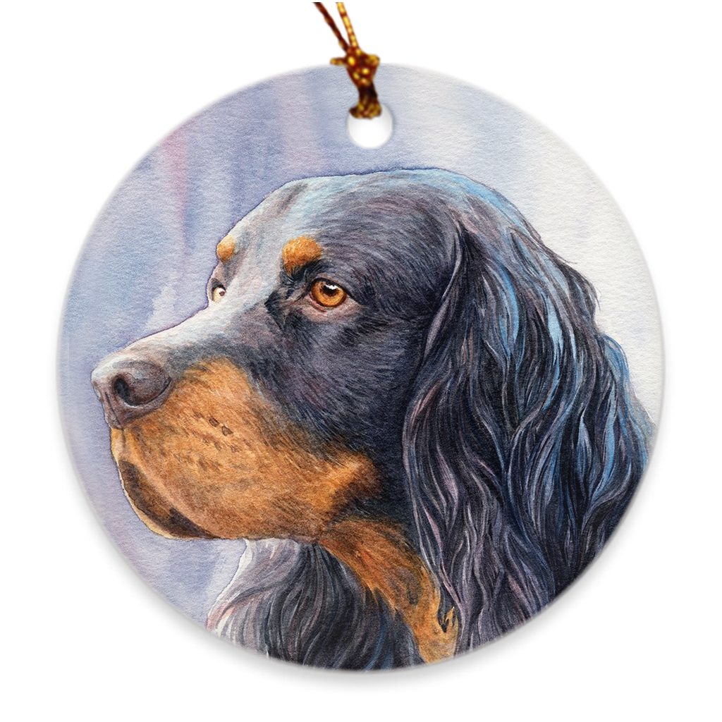 "Gordon Setter ""Head Study II"" Christmas Ornament"