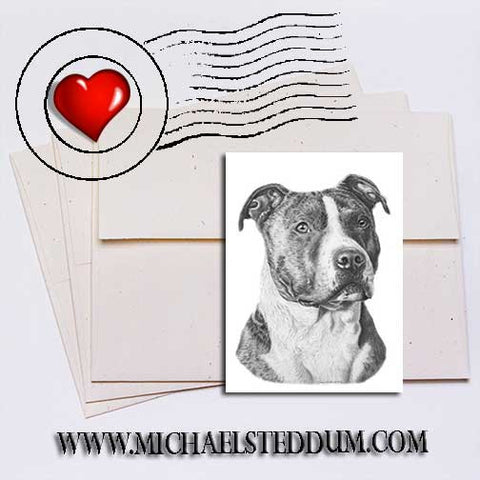American Staffordshire Terrier Pencil Note Card Set