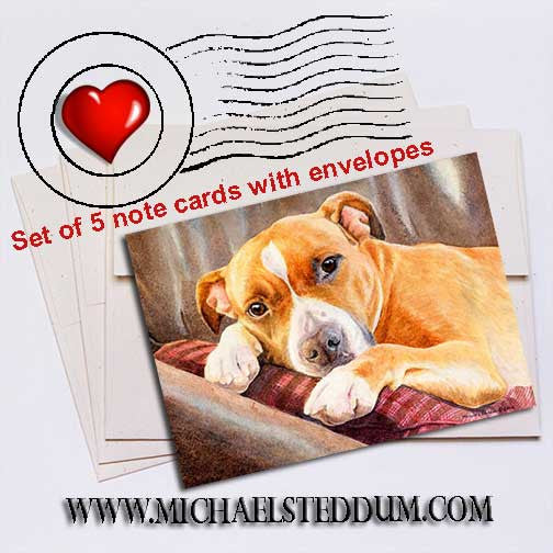 Sleepy Time American Staffordshire Terrier Note Card Set