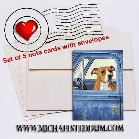 I'll Watch The Truck 	American Staffordshire Terrier Note Card Set