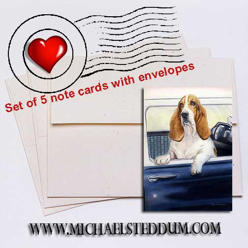 Don't Forget the Biscuits Basset Hound Note Card Set