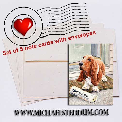 Paper Boy Basset Hound Note Card Set