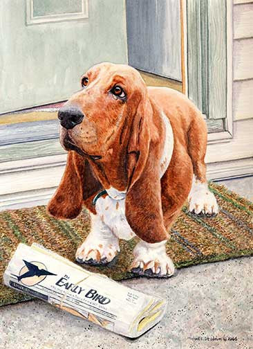 """Paper Boy"" A Limited Edition Basset Hound Print"