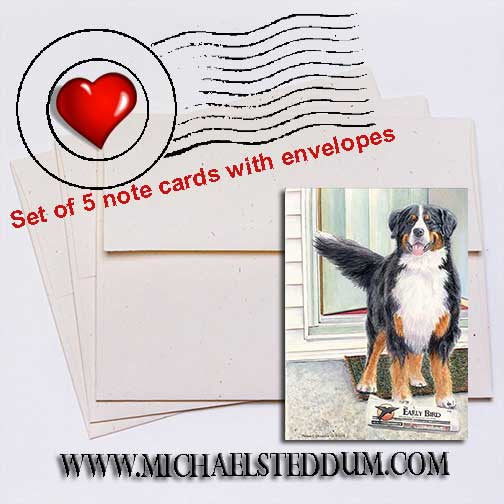 Paper Boy Bernese Mountain Dog Note Card Set