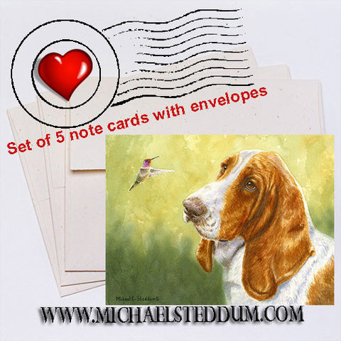 """Bird Dog"" Basset Hound Note Card Set"