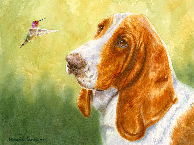 """Bird Dog"" A Limited Edition Basset Hound Print"