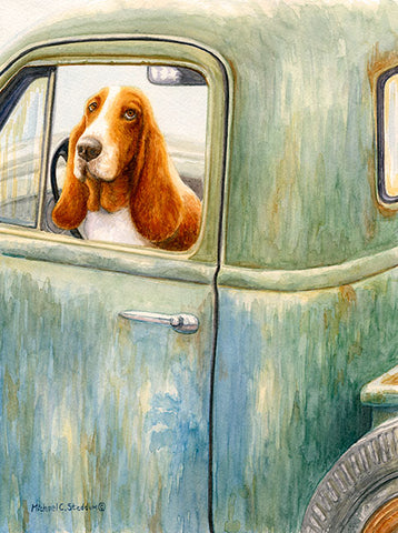 """Country Roads"" A Limited Edition Basset Hound Print"