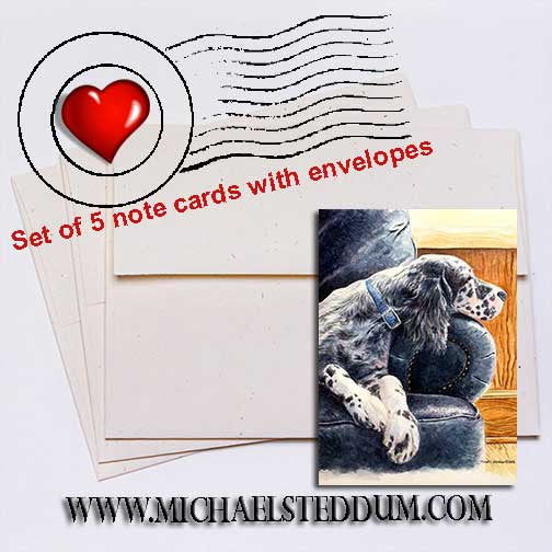 Couch Potato English Setter Note Card Set