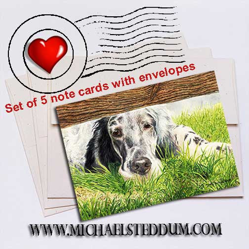Missing You English Setter Note Card Set