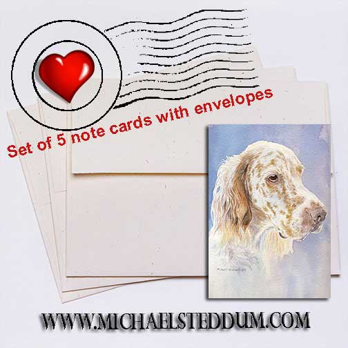 English Setter Head Study II Note Card Set