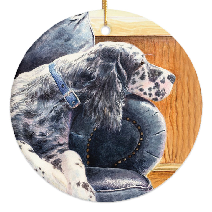 "English Setter ""Couch Potato"" Christmas Ornament"