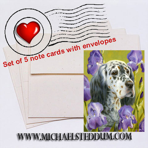 English Iris, English Setter Note Card Set