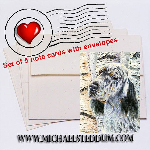 Birches, English Setter Note Card Set