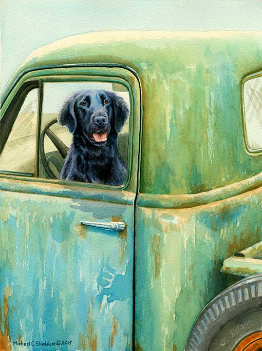 """Excursion"" A Limited Edition Flat Coated Retriever Print"