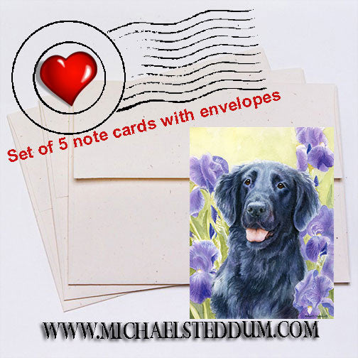 """Glory"" Flat Coated Retriever Note Card Set"