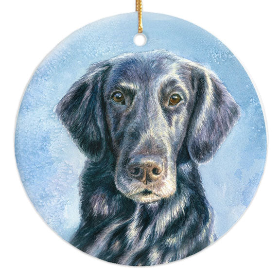 "Flat Coated Retriever ""Intensity"" Christmas Ornament"