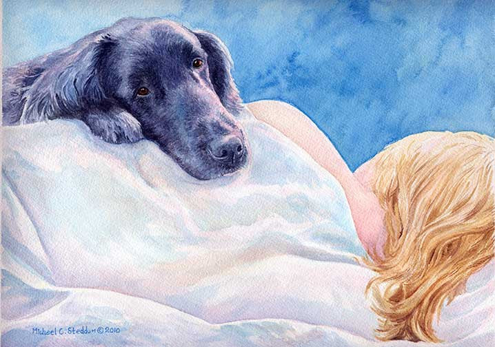 """Lucky Dog"" A Limited Edition Flat Coated Retriever Print"