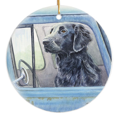 "Flat Coated Retriever ""Wait Here"" Christmas Ornament"