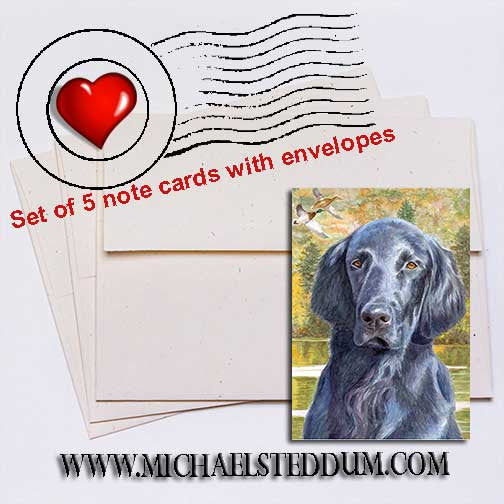 Fall Days, Flat Coated Retriever Note Card Set