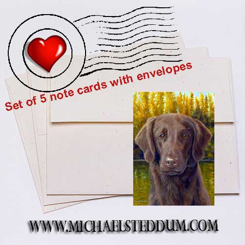 """Flat Coat Fall"" Flat Coated Retriever Note Card Set"