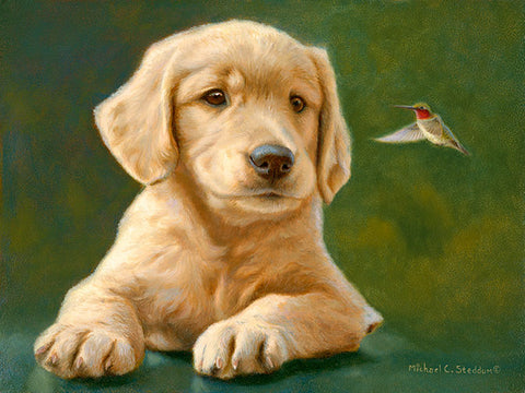 """Space Invader"" A Limited Edition Golden Retriever Print"