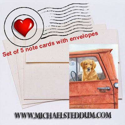 Sunday Drive, Golden Retriever Note Card Set