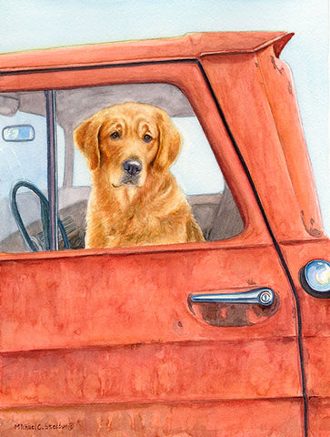 """Sunday Drive"" A Limited Edition Golden Retriever Print"