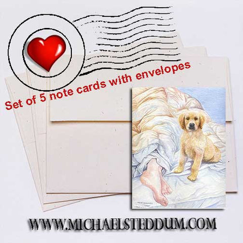 Good Morning Golden Retriever Note Card Set