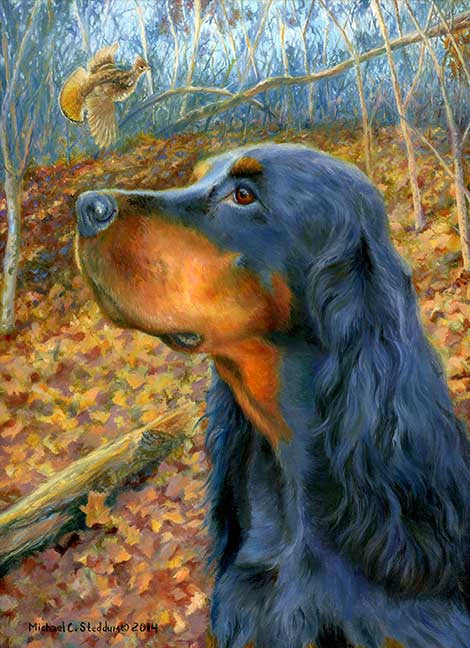 "Gordon Setter Art Reproduction Print – ""Northwoods"" by Michael Steddum - Limited Edition Signed and Numbered Gordon Setter Art Print"
