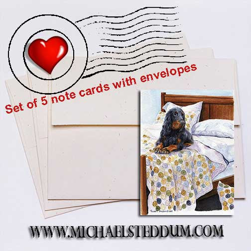 Bed Sitter Gordon Setter Note Card Set
