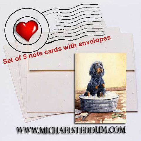 Saturday Night, Gordon Setter Note Card Set