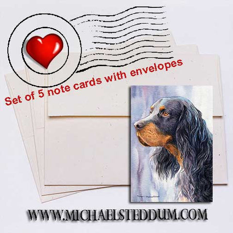 Gordon Setter Head Study II Note Card Set