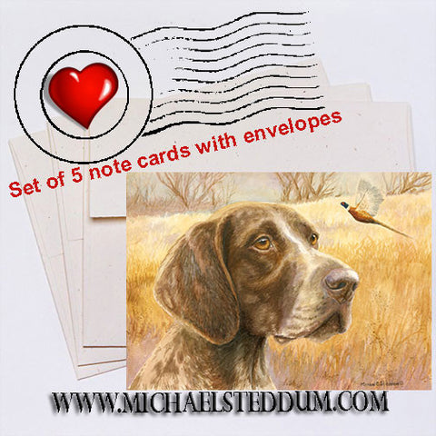 """Fall"" German Shorthaired Pointer Note Card Set"