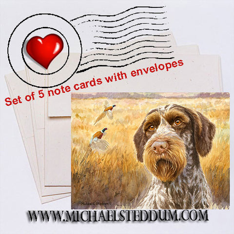 """October"" A German Wirehaired Pointer Note Card Set"