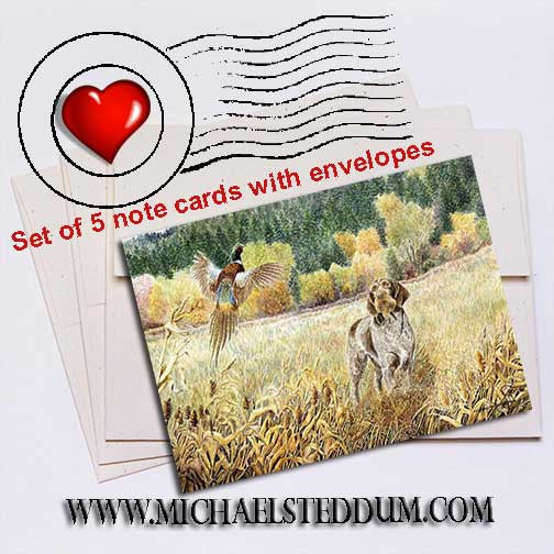 GWP in the Field German Wirehaired Pointer Note Card Set
