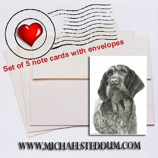 German Wirehaired Pointer Pencil Note Card Set