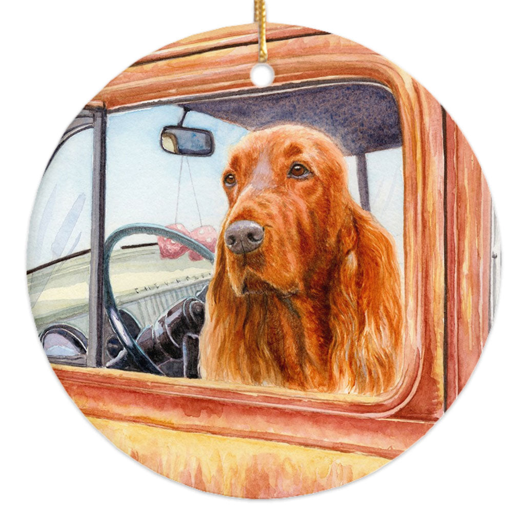 "Irish Setter ""Dusty Road"" Christmas Ornament"