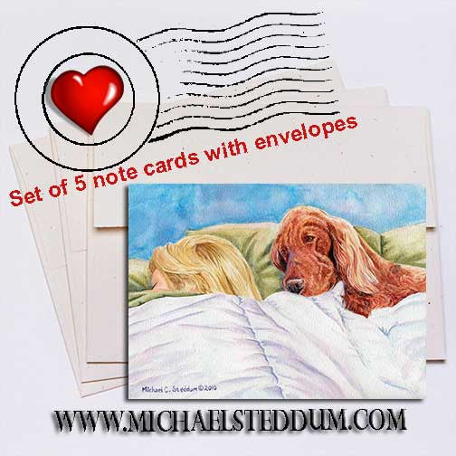Lucky Dog, Irish Setter Note Card Set