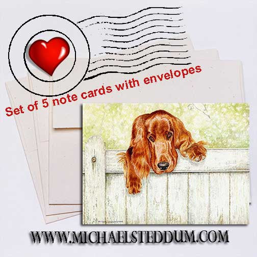 Fence Talker, Irish Setter Note Card Set