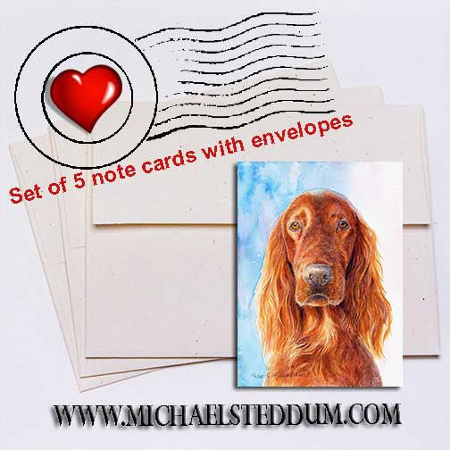 Irish Setter Head Study IV Note Card Set