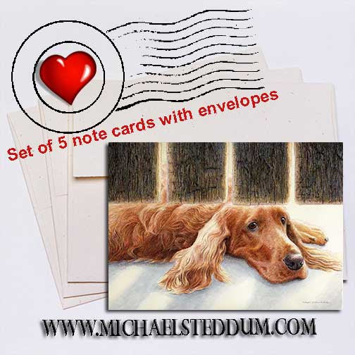 Watching & Waiting, Irish Setter Note Card Set